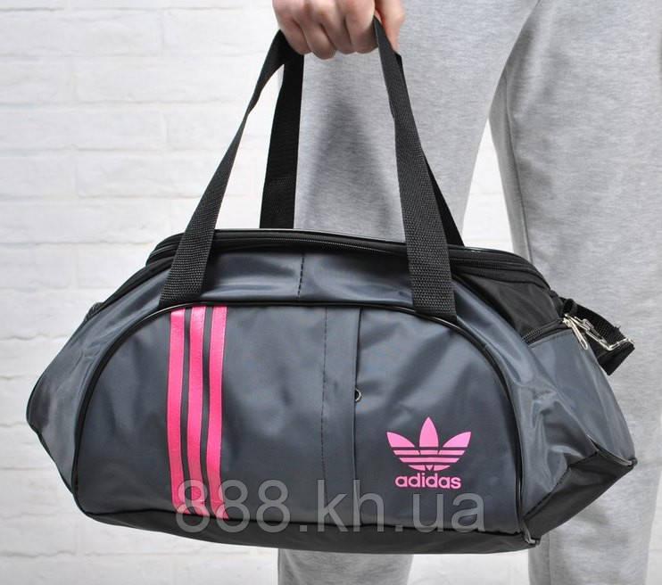 Спортивная женска сумка Adidas, фитнес сумка серый/розовый  реплика