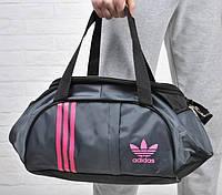 Спортивная женска сумка Adidas, фитнес сумка серый/розовый  реплика, фото 1