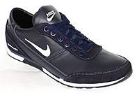 Демисезонные кроссовки из кожи Roma-Nike синего цвета