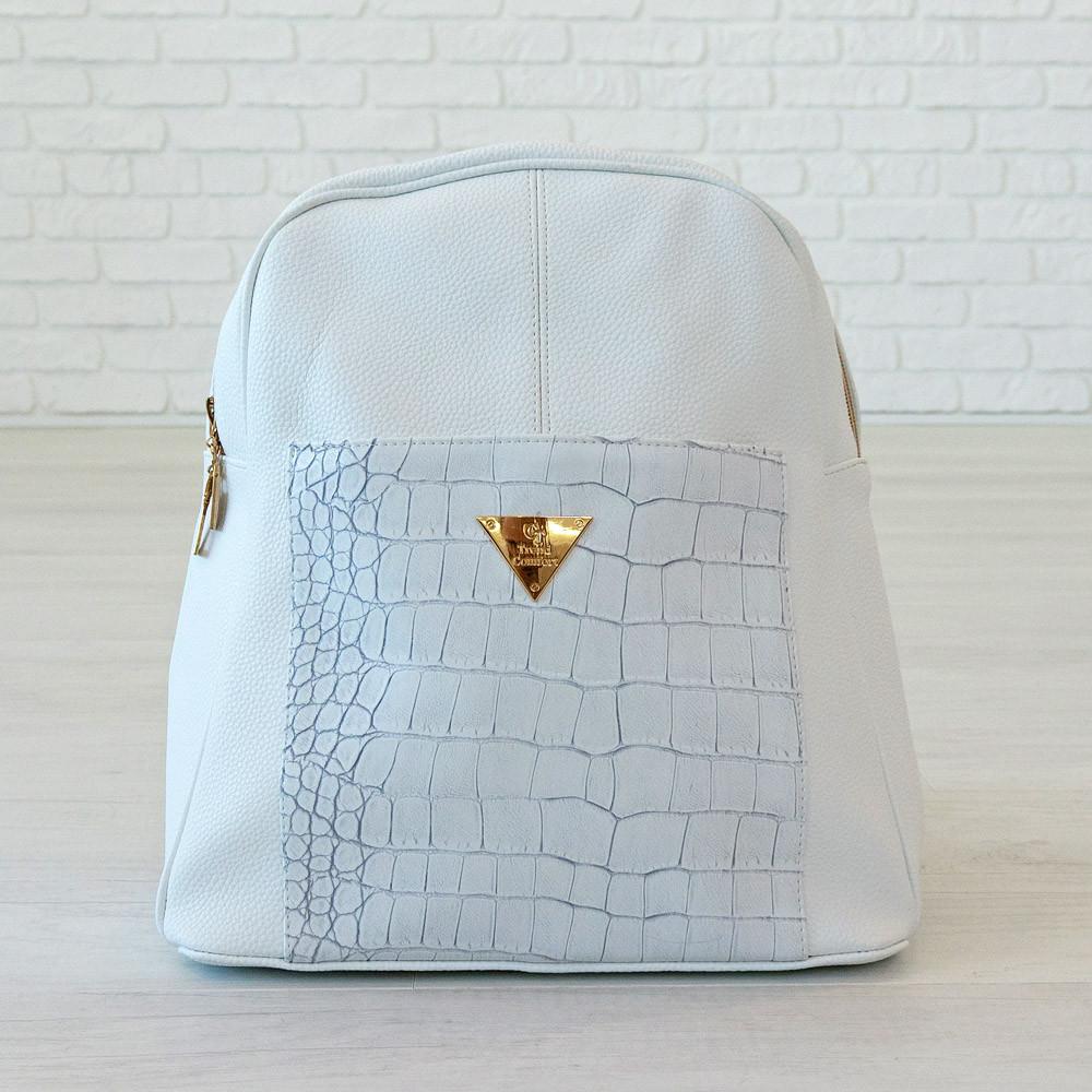Рюкзак из искусственной кожи белый (К-300-1)