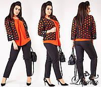 Батальный женский  костюм тройка, цвет  черный+оранжевый. Арт-2086/21