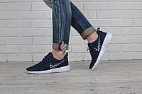 Кроссовки женские Nike Roshe Metric синие текстильные, Синий, 40
