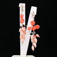 Серьги из коралла и полимерной глины, розовые