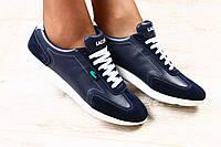 Женские кроссовки темно-синие с комбинированной кожи Lacoste с белыми шнурками и белой подошве