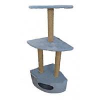 Когтеточка с домиком угловая ДРП-ДУ2 (40*40*65 см) сизаль, голубая