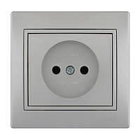 Розетка б/з  Lezard Mira 701-1010-121В серый металлик