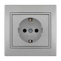 Розетка с/з  Lezard Mira 701-1010-122В серый металлик