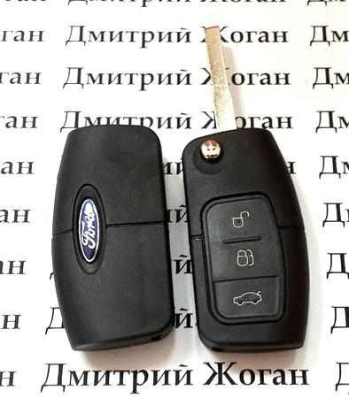 Корпус выкидного ключ для FORD (Форд) Fiesta, Focus корпус 3 - кнопки, лезвие HU101