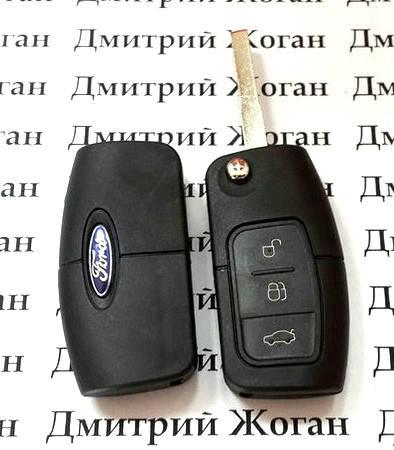 Корпус выкидного ключ для FORD (Форд) Fiesta, Focus корпус 3 - кнопки, лезвие HU101, фото 2