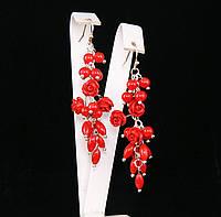 Серьги из коралла и полимерной глины, красные