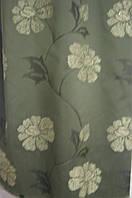 Портьера тафта тёмная зелень цветок