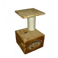 Когтеточка с домиком ДРП-МаксДом (38*38*60 см) сизаль, коричневая