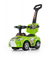 Детская  машинка-каталка Ride On Kid 3в1 зеленая  Milly Mally  Польша