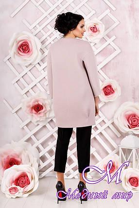Стильное женское демисезонное розовое пальто батал (р. 44-54) арт. 1000 Тон 2, фото 2