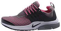 Женские кроссовки Nike Air Presto Flyknit (найк аир престо) розовые/серые