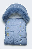 Конверт зимний для новорожденных с опушкой, зимний теплый конверт в коляску, голубой