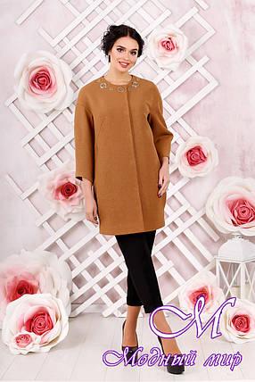 Стильное женское демисезонное светло-коричневое пальто батал (р. 44-54) арт. 1000 Тон 7, фото 2