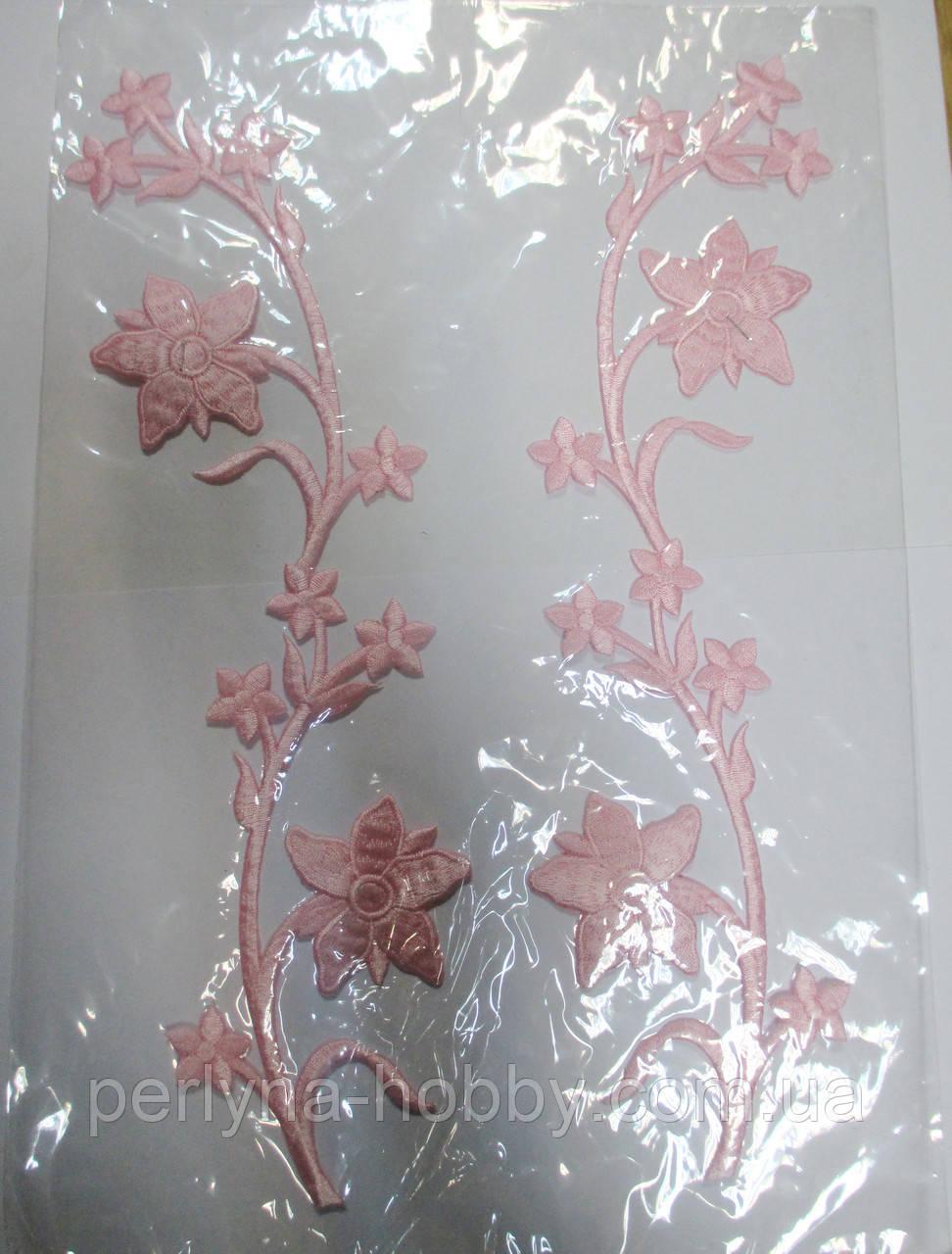 """Аплікація вишивка клейова  """"Квіти на гілці"""" , 34 см ніжно-рожеві 1пара"""