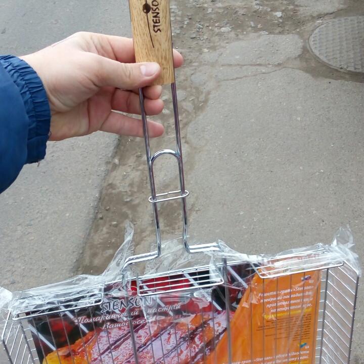 Мангальная решетка для гриля и барбекю STENSON, размер 69х41х32