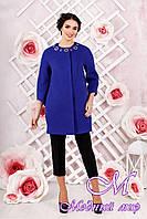 Стильное женское демисезонное пальто цвета электрик батал (р. 44-54) арт. 1000 Тон 8