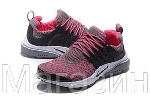 Женские спортивные кроссовки Nike Air Presto Flyknit Grey Pink, Найк Аир Престо, фото 3