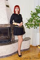 Элегантное черное платье с юбкой в складку. 373