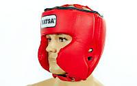 Шлем боксерский PU MATSA ME-0145-PU (2-ая с-ма крепления,усиленная защита щек,красный,синий)
