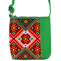 Зеленая детская сумка для девочки с принтом Вышиванка