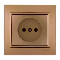 Розетка б/з  Lezard Mira 701-1313-121В металлик золото
