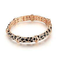 Позолоченный жесткий браслет леопардового раскраса с кристаллами сваровски,австрийский циркон