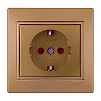 Розетка с/з с защитой от детей   Lezard Mira 701-1313-124В металлик золото