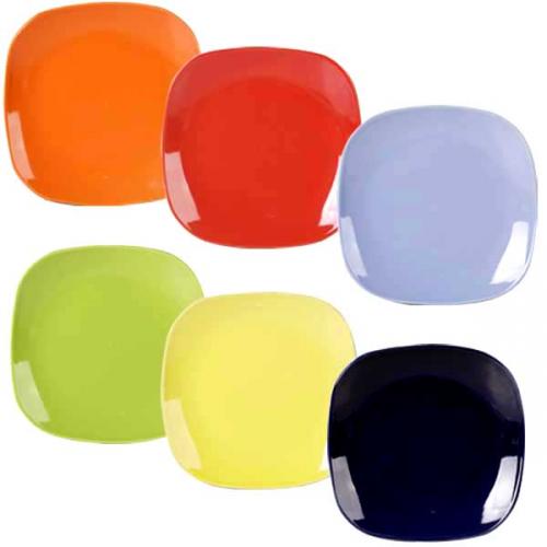 """Набор тарелок 7,5""""  6 цветов Микс Квадрат  /6шт. в наборе/"""
