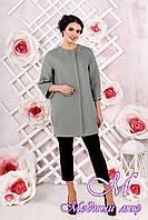 Стильное женское демисезонное пальто цвета оливка батал (р. 44-54) арт. 1000 Тон 76