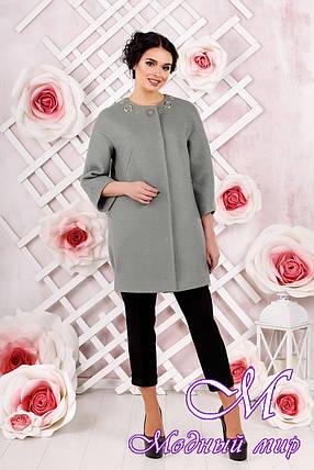 Стильное женское демисезонное пальто цвета оливка батал (р. 44-54) арт. 1000 Тон 76, фото 2
