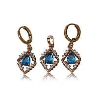 016-0423 - Комплект с ярко-голубыми и прозрачными фианитами розовая позолота
