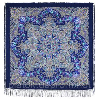 Ласковое солнце 1664-14, павлопосадский платок из двуниточной шерсти с шелковой вязаной бахромой