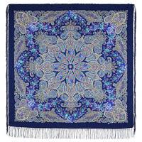 Ласковое солнце 1664-14, павлопосадский платок из двуниточной шерсти с шелковой вязаной бахромой, фото 1