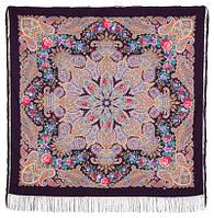 Ласковое солнце 1664-15, павлопосадский платок шерстяной (двуниточная шерсть) с шелковой бахромой