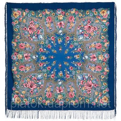 Цветочная симфония 1120-14, павлопосадский платок шерстяной (двуниточная шерсть) с шелковой бахромой