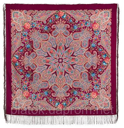 Ласковое солнце 1664-8, павлопосадский платок шерстяной (двуниточная шерсть) с шелковой бахромой