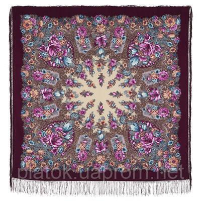 Цветочная симфония 1120-7, павлопосадский платок шерстяной (двуниточная шерсть) с шелковой бахромой