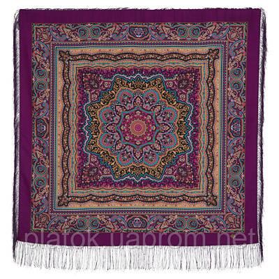 Северянка 1625-15, павлопосадский платок шерстяной (двуниточная шерсть) с шелковой бахромой