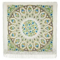 Снежинки и цветы 1676-2, павлопосадский платок шерстяной  с шелковой бахромой