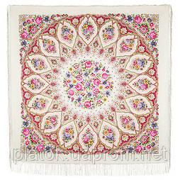Снежинки и цветы 1676-3, павлопосадский платок шерстяной  с шелковой бахромой