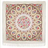 Снежинки и цветы 1676-4, павлопосадский платок шерстяной  с шелковой бахромой