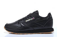 Кроссовки женские Reebok Classic Leather  Black (в стиле рибок) черные