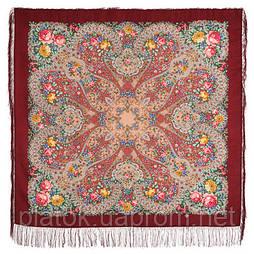 Прекрасное далёко 1678-5, павлопосадский платок шерстяной с шелковой бахромой