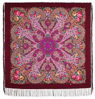 Прекрасное далёко 1678-7, павлопосадский платок шерстяной с шелковой бахромой