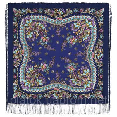 Уральский сказ 1385-14, павлопосадский платок шерстяной (двуниточная шерсть) с шелковой бахромой