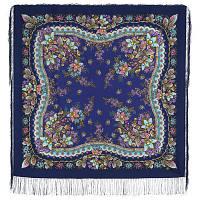 Уральский сказ 1385-14, павлопосадский платок шерстяной (двуниточная шерсть) с шелковой бахромой, фото 1